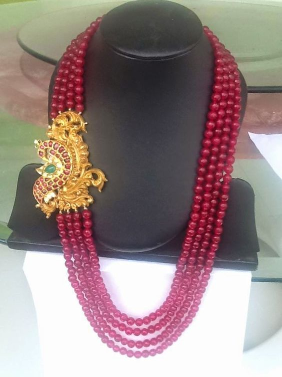 red beads necklace with ruby pendant