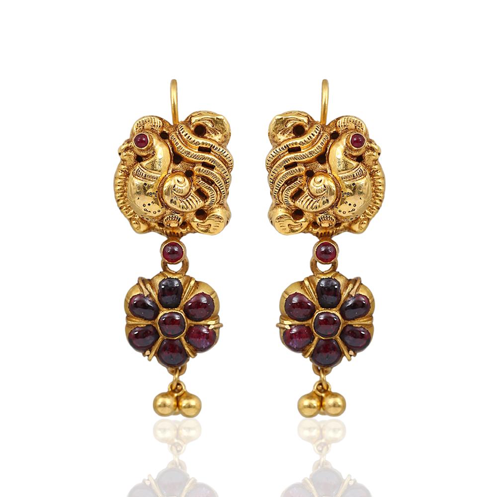 Antique Peacock Ruby Earrings NAC Jewellers
