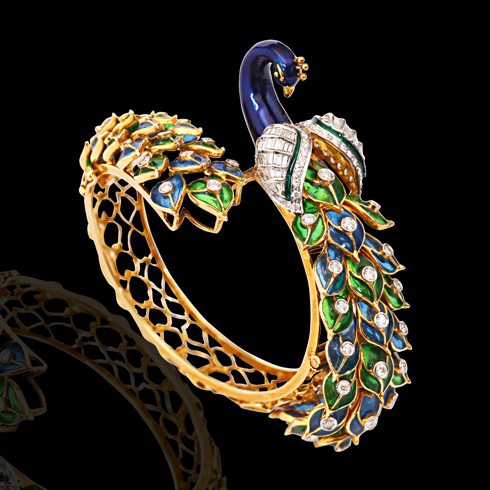 enamelled diamond peacock bracelet