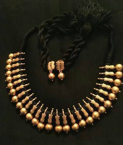 gold plated pure silver temple jewellery_black thread