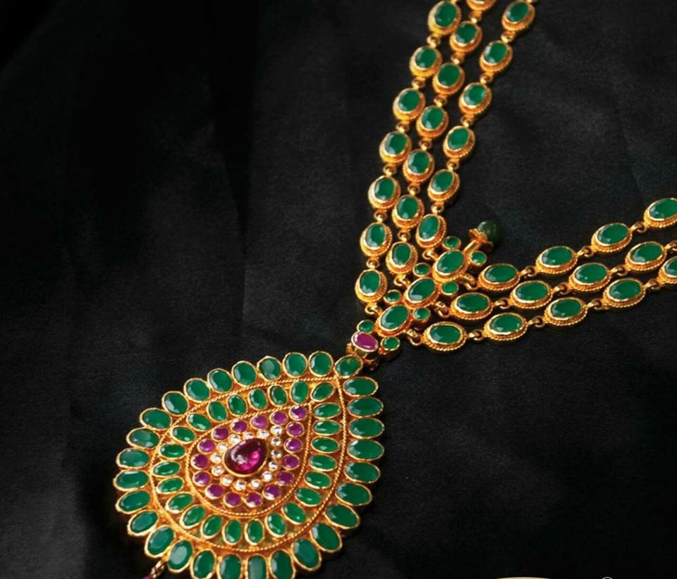 gold plated pure silver temple jewellery_emeralds necklace
