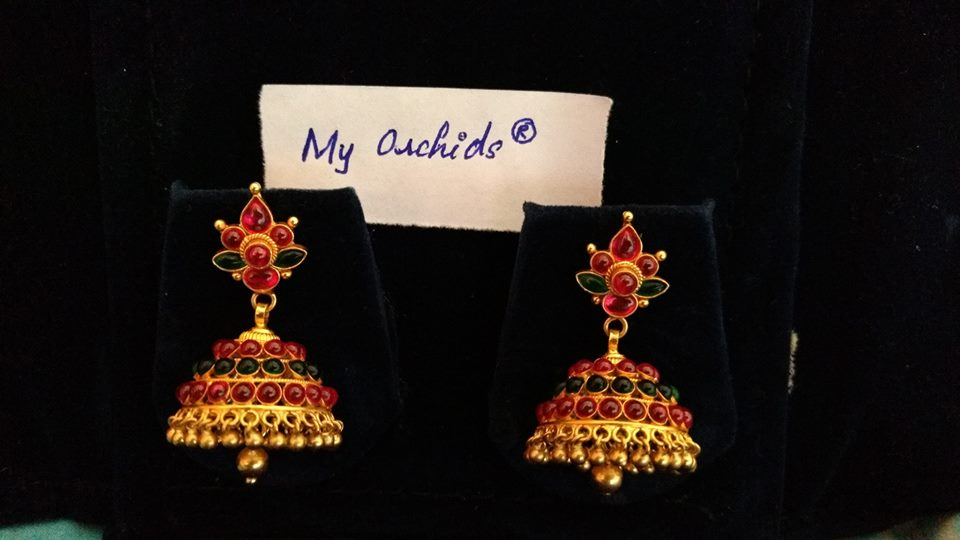 gold plated pure silver temple jewellery_ruby buttalu