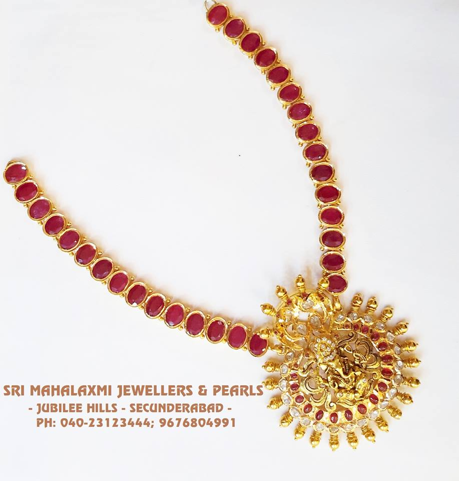 and plated gold emerald ad necklace antique gm full index one ruby vinayaka set