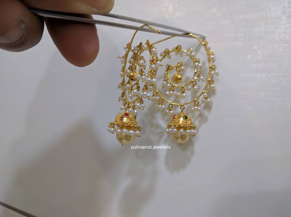 pearl chandbali from pulimamidi jewellers