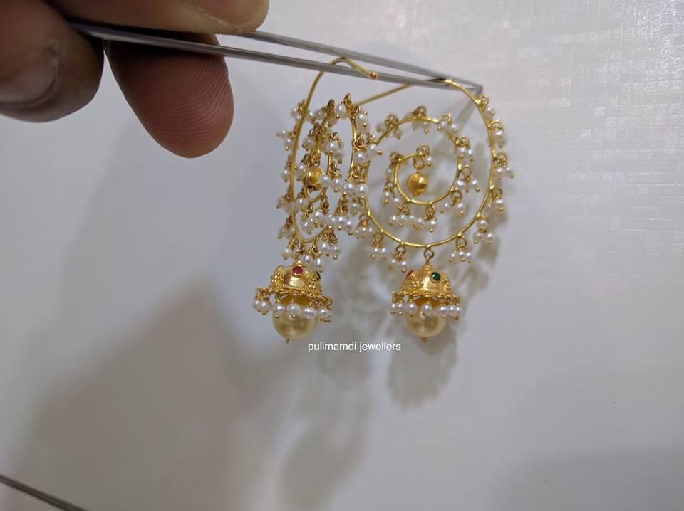 pearl chandbali from pulimamidi jewellers